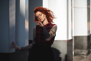 women with glasses redhead portrait red nails closed eyes women tattoo