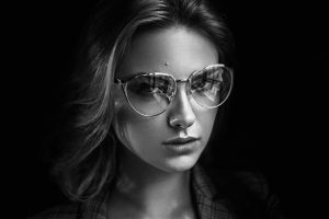 women with glasses women monochrome face women with shades portrait carla sonre damian piórko dark background black background