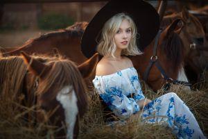 women with hats sitting black hat horse depth of field bare shoulders nastasya parshina straw blonde dress women outdoors women with horse alice tarasenko animals looking at viewer