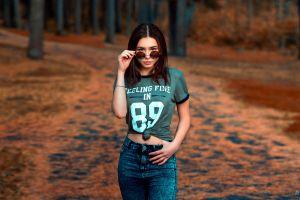 women with shades women outdoors jeans women aleksandr suhar brunette ksenia sirotkina