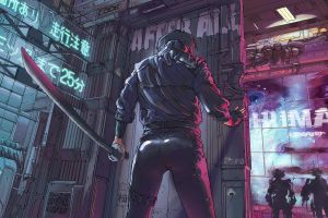 women with swords cyberpunk ghost in the shell futuristic artwork