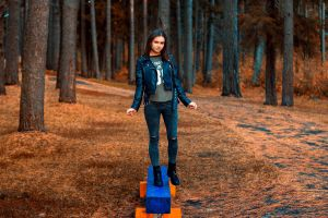 women women outdoors aleksandr suhar ksenia sirotkina black jackets leather jackets trees brunette standing