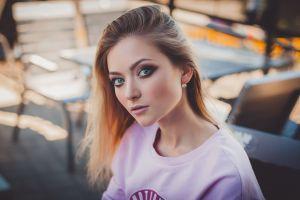 women women outdoors bokeh pink lipstick face blue eyes portrait blouse brunette smoky eyes long hair