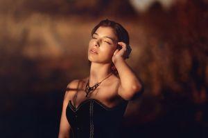 women women outdoors closed eyes model