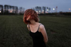 women women outdoors dyed hair dress aleks five trees depth of field pale outdoors black dress field lights grass hair in face model