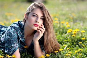 women women outdoors flowers portrait red lipstick model