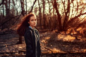 women women outdoors pearl earrings georgy chernyadyev model coats forest make up black coat long hair redhead