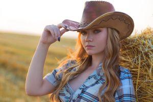 women women with hats hay cowboy hats cowgirl cow girl plaid shirt blonde green eyes portrait women outdoors