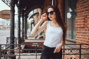 women women with shades portrait jeans sunglasses white tops brunette model women outdoors
