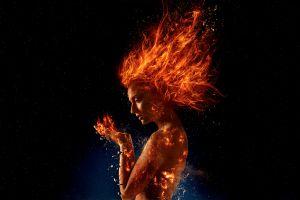 x-men dark phoenix superheroines jean grey marvel comics sophie turner movies artwork fire