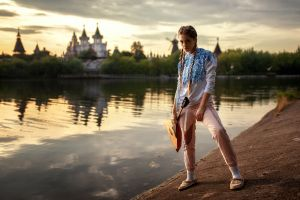 yuriy lyamin portrait women outdoors model women riverside river ksenia kokoreva braids
