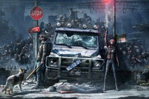 zombies artwork vehicle car video game art