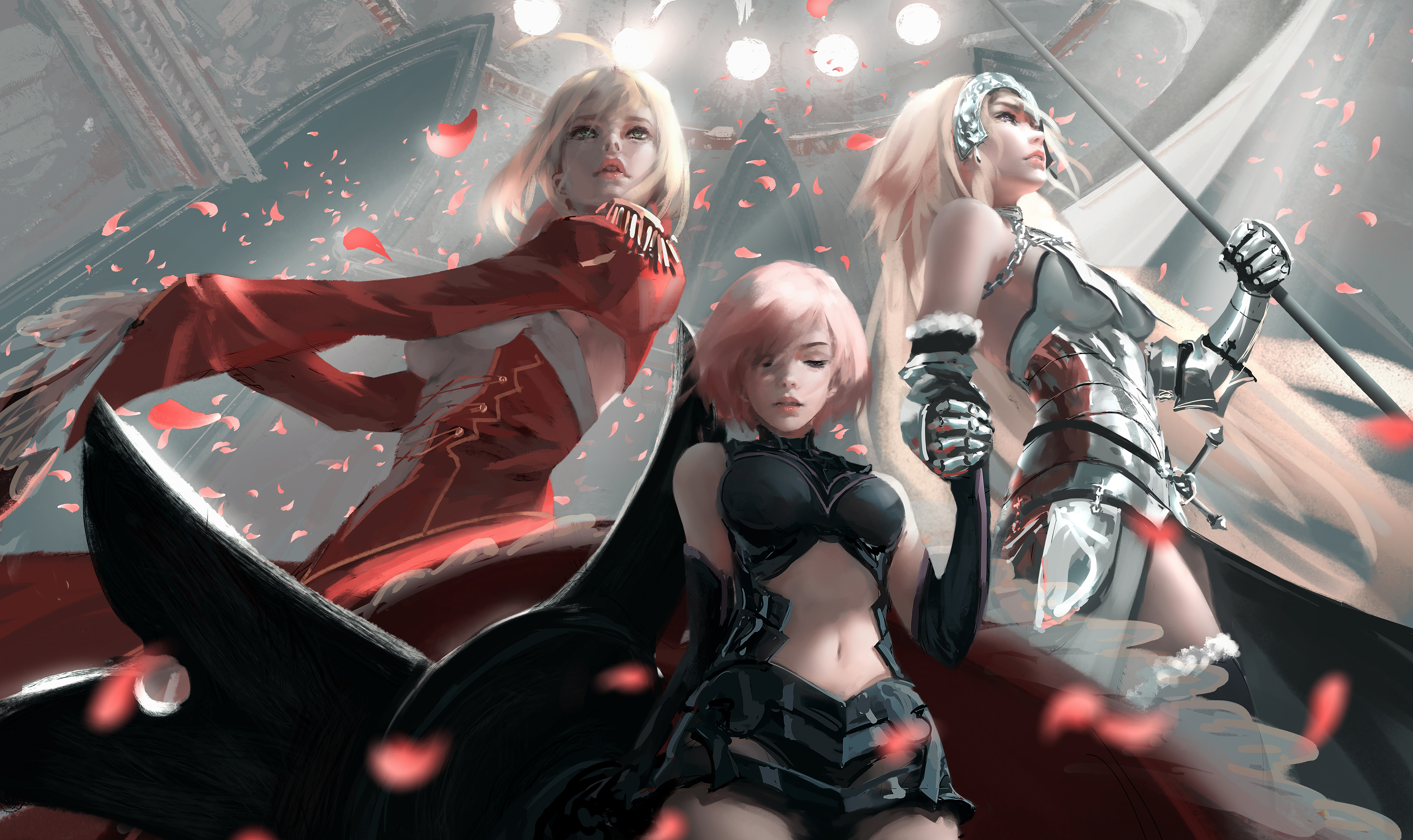 wlop digital art fate/grand order painting artwork anime girls fate series drawing anime jeanne d'arc(fate/grand order) nero claudius mashu kyrielight