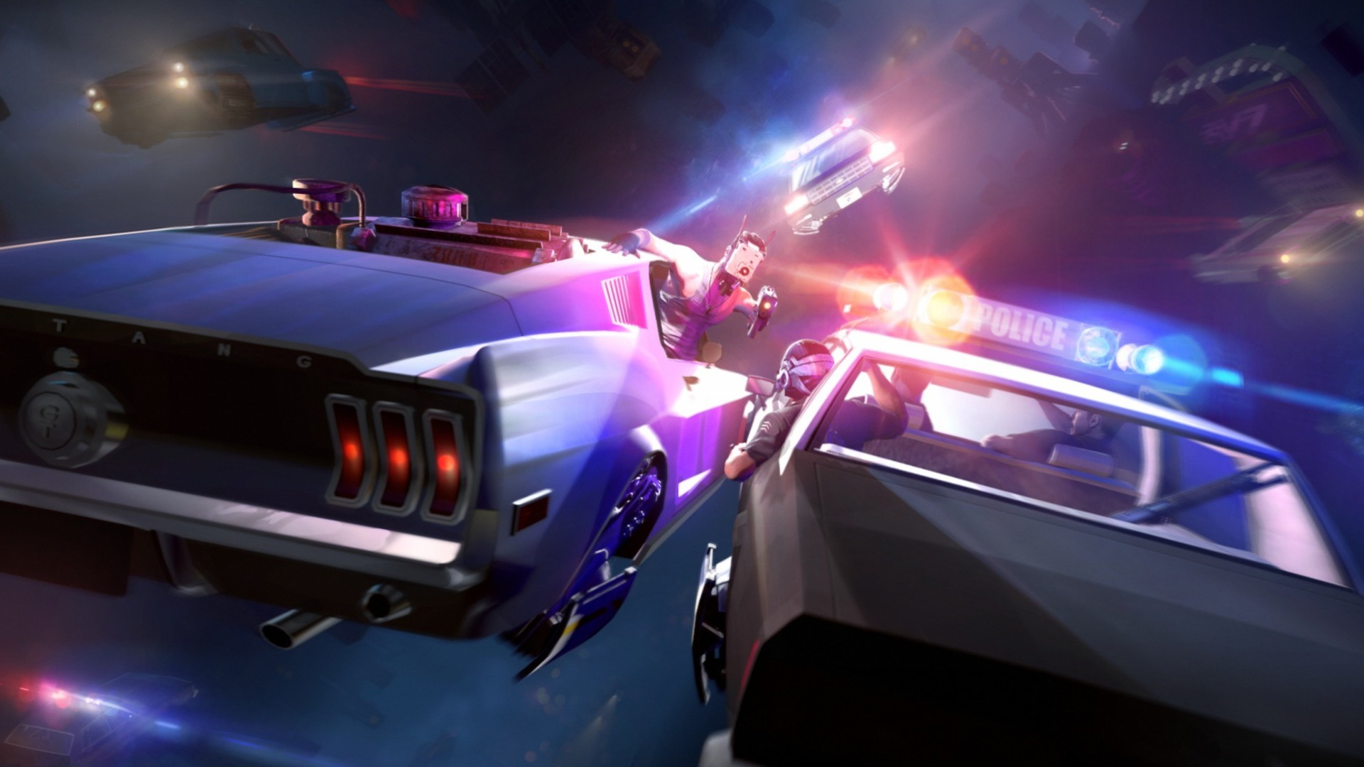 artwork car ford mustang police futuristic gun