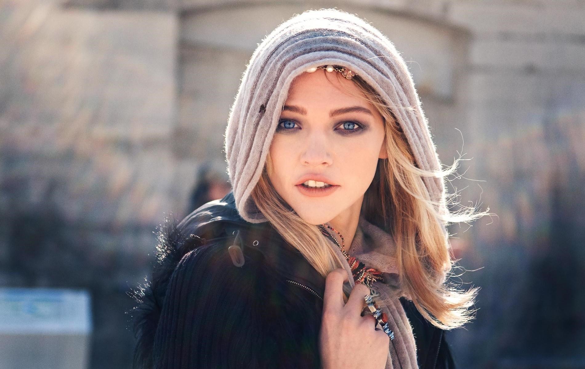 blonde blue eyes scarf women face sasha pivovarova model