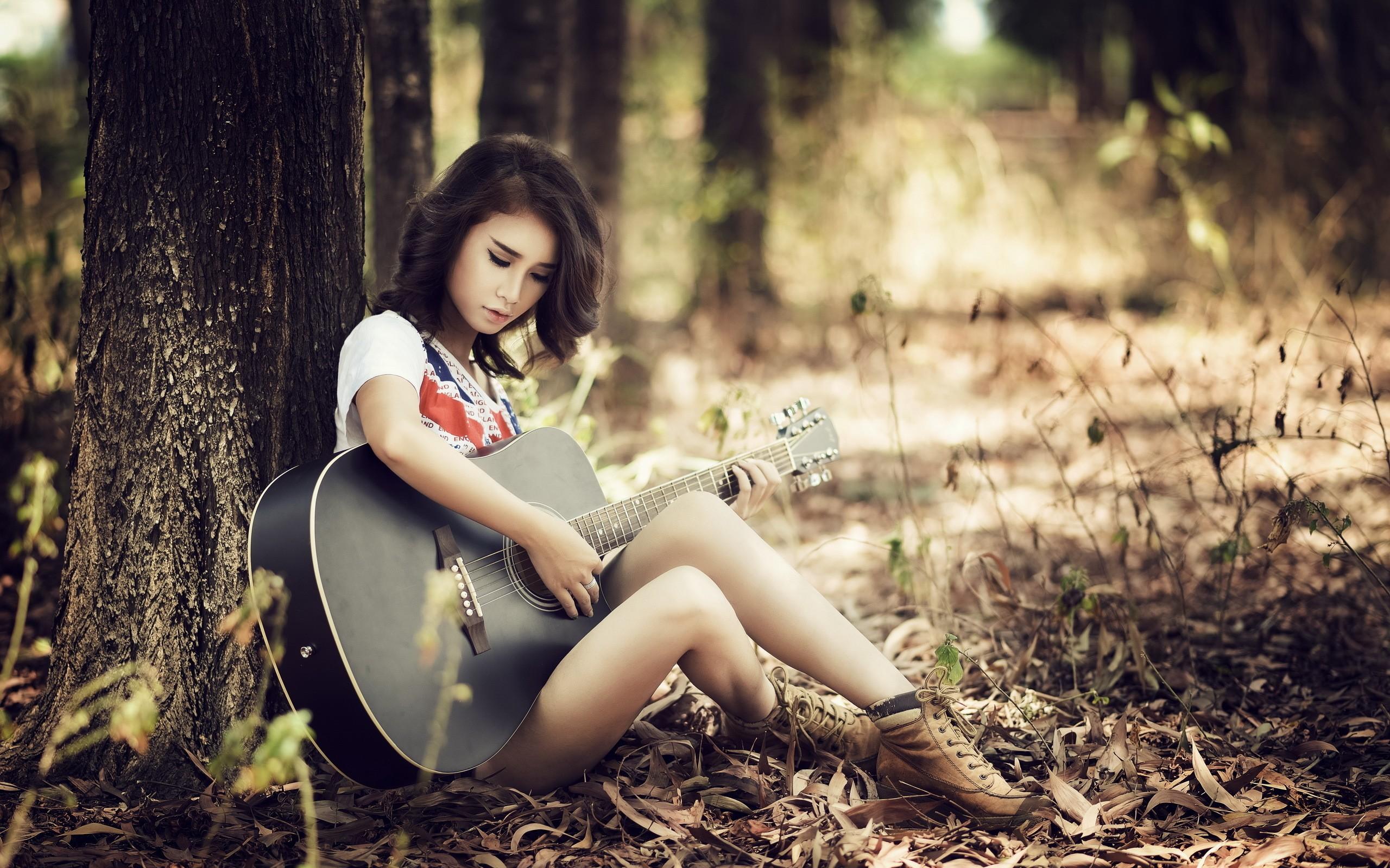 brunette women outdoors sitting guitar guitarist women asian