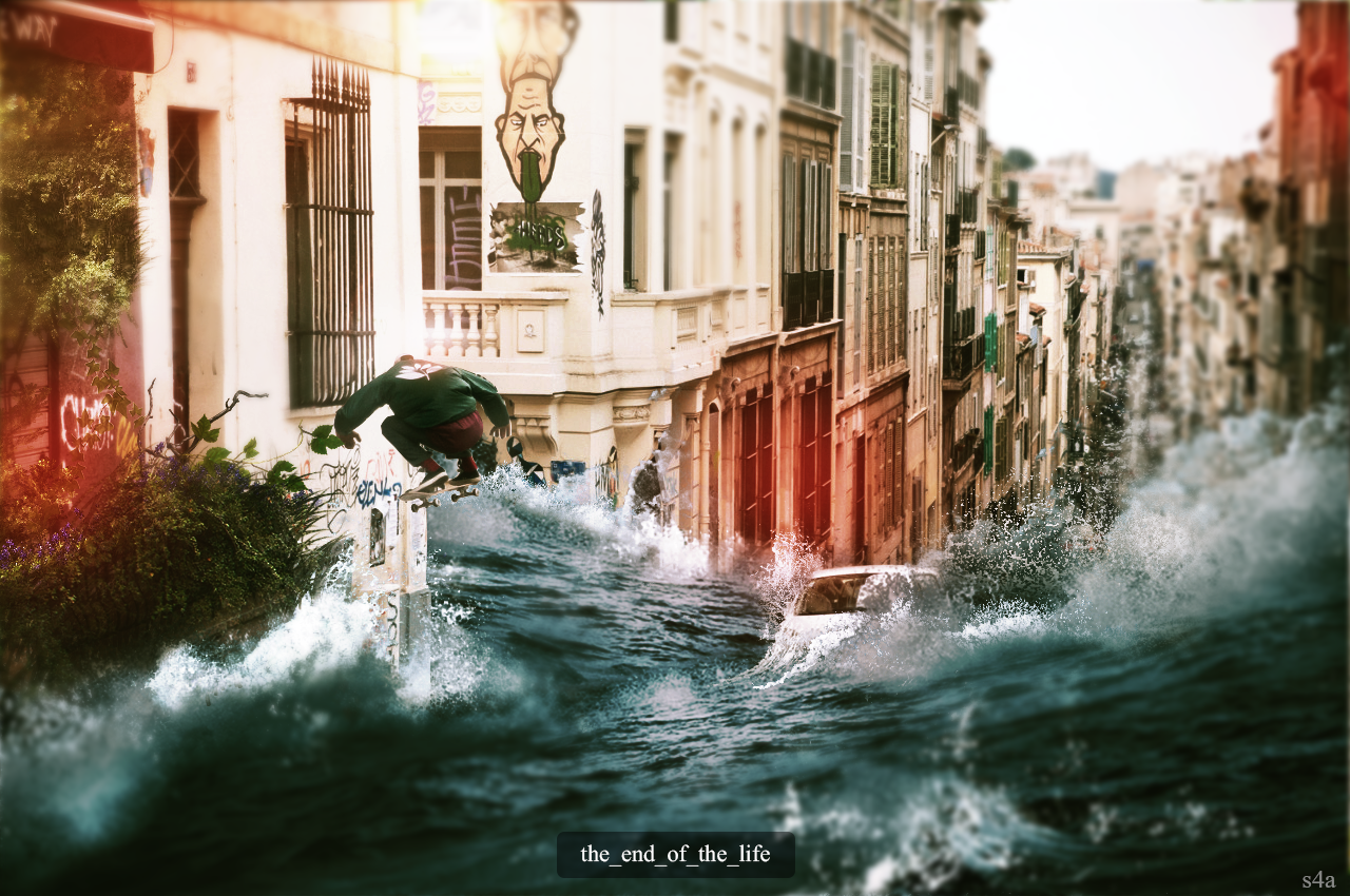 city digital art apocalyptic flood
