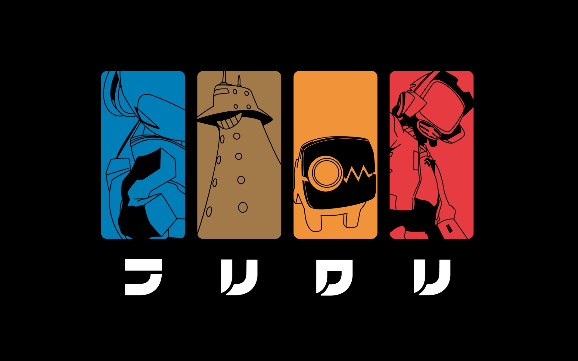 collage flcl anime simple background