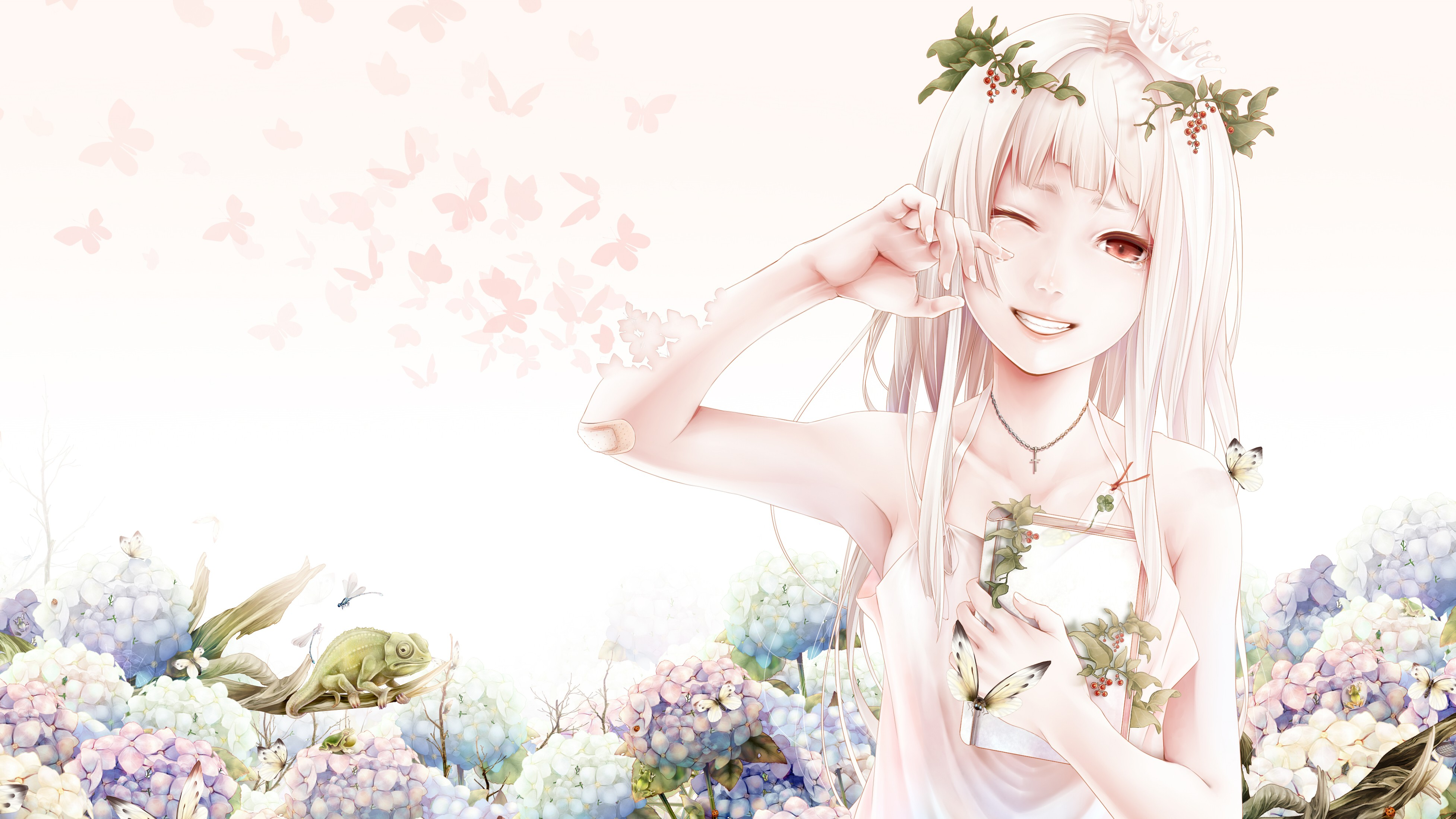 flowers plants anime red eyes camelion anime girls