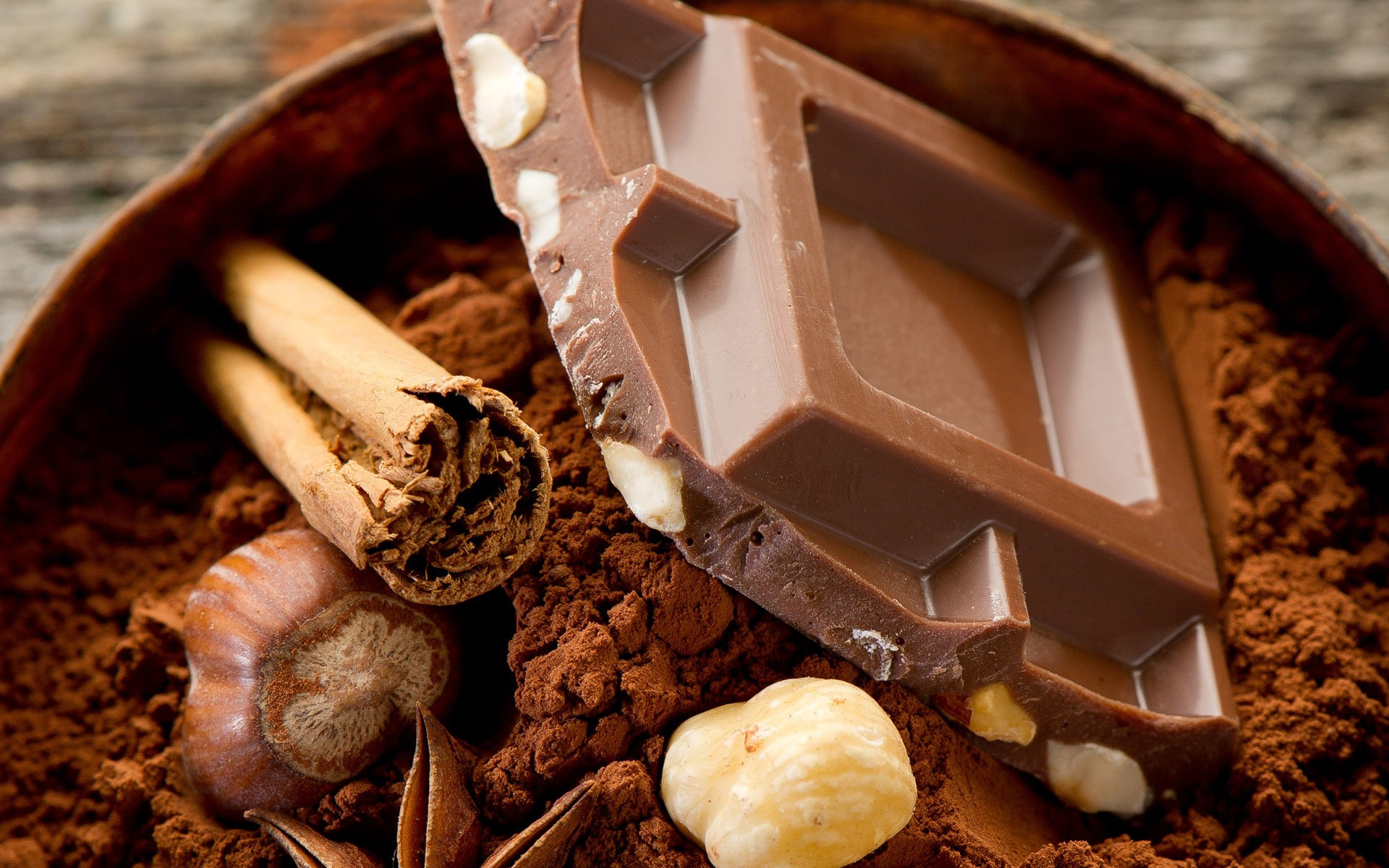 food nuts cinnamon chocolate