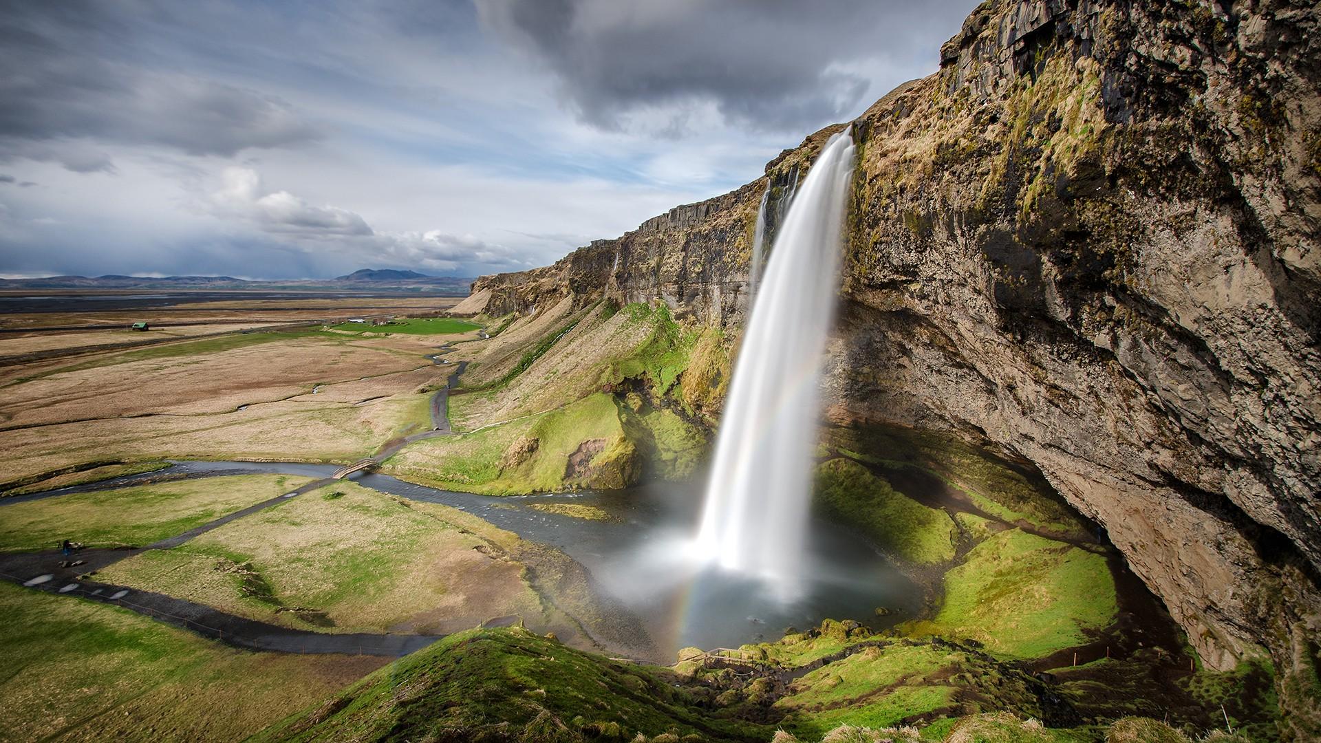 landscape waterfall nature rock