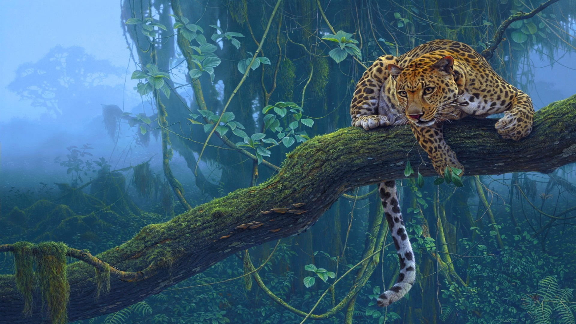 leopard (animal) branch animals trees