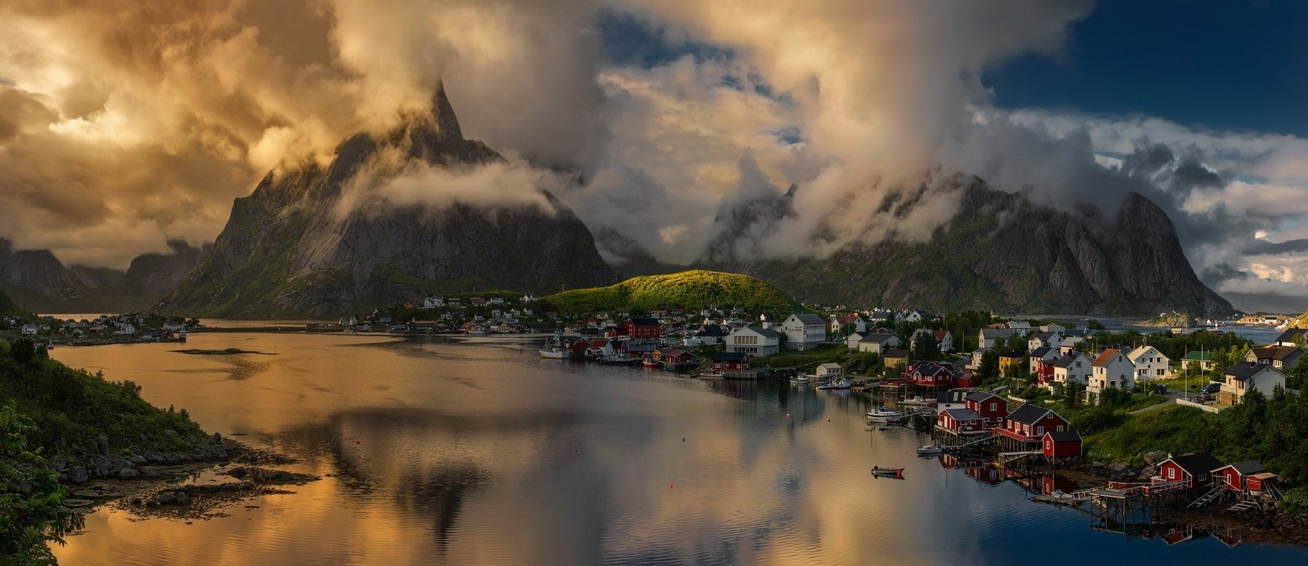 lofoten island town clouds nature sunlight sunset fjord landscape summer boat sea norway mountains