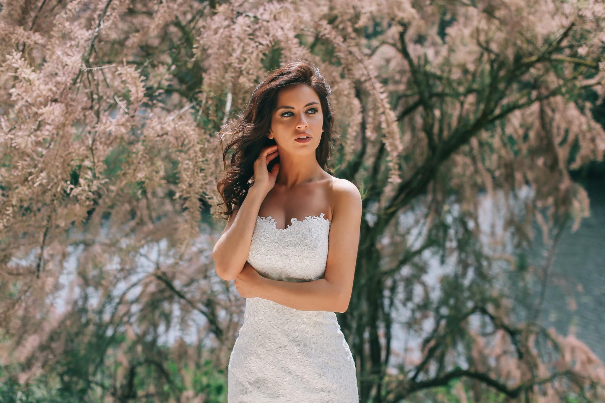 looking away white dress women portrait model aurela skandaj