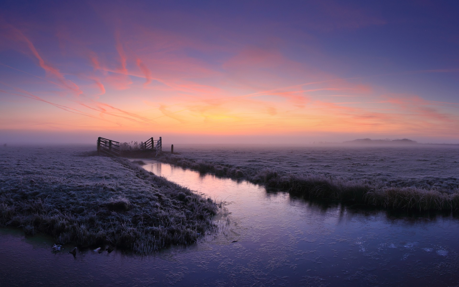 mist nature frost canal field clouds grass cold landscape