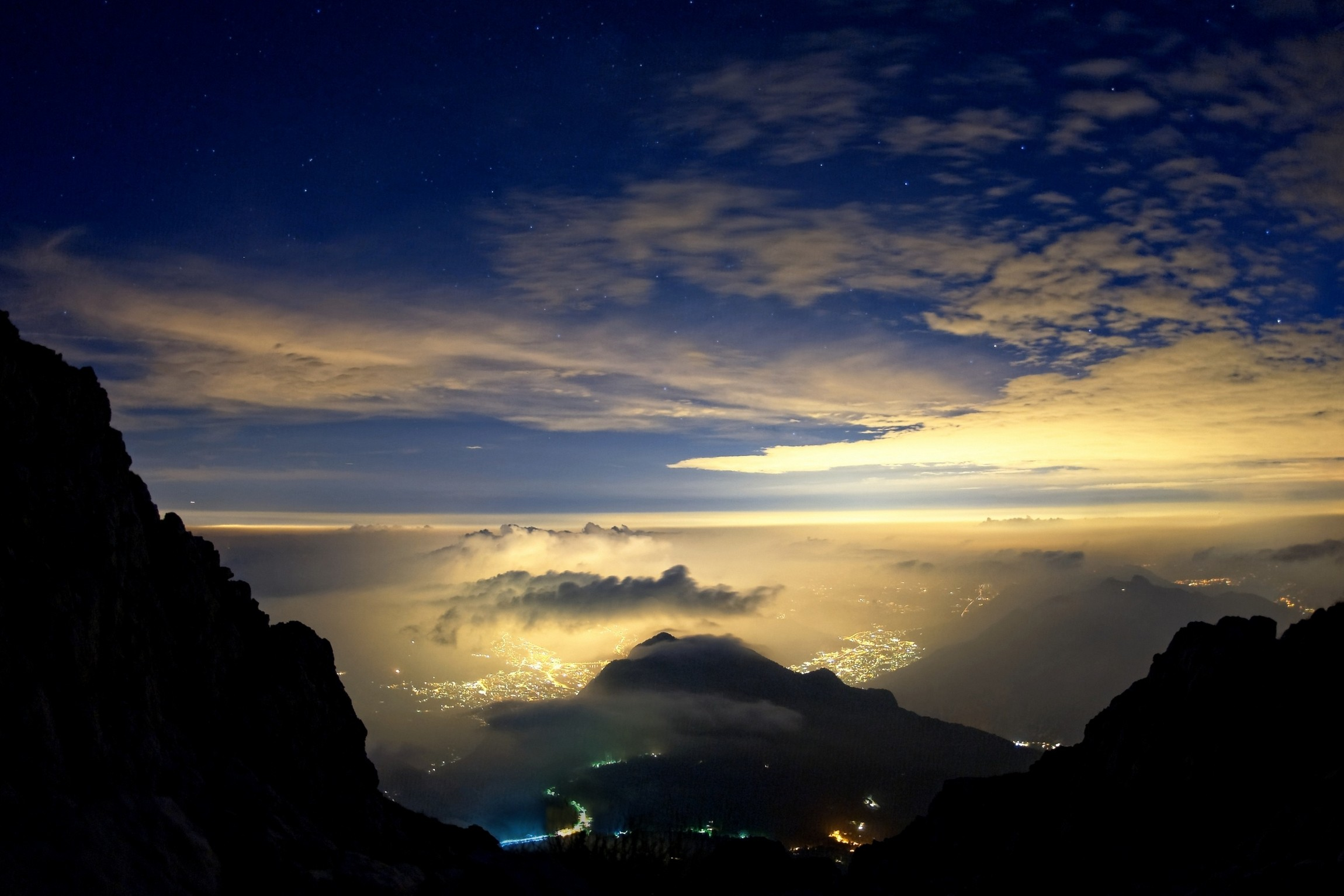 mist sky evening valley landscape clouds stars city italy nature mountains lights