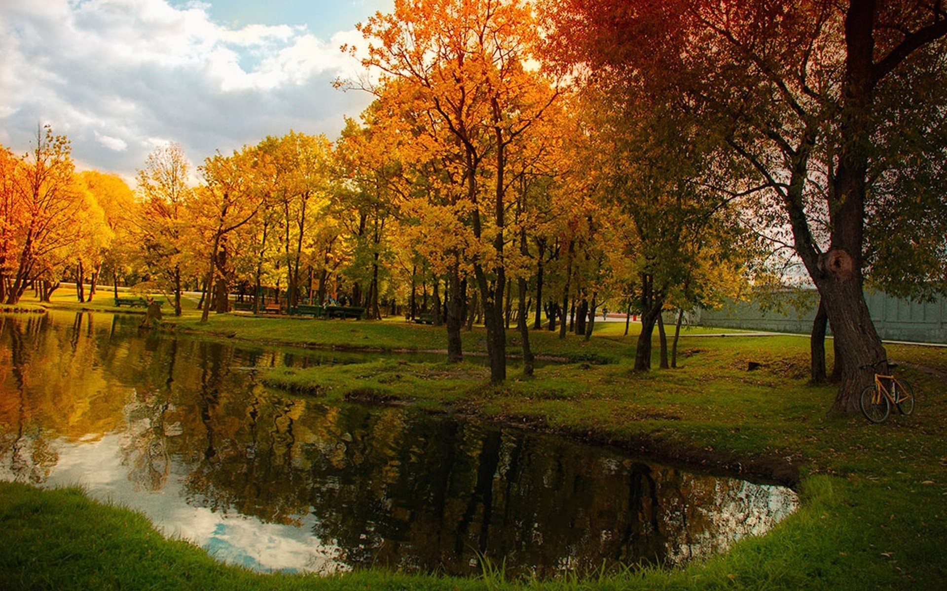 nature fall trees pond landscape bicycle russia reflection