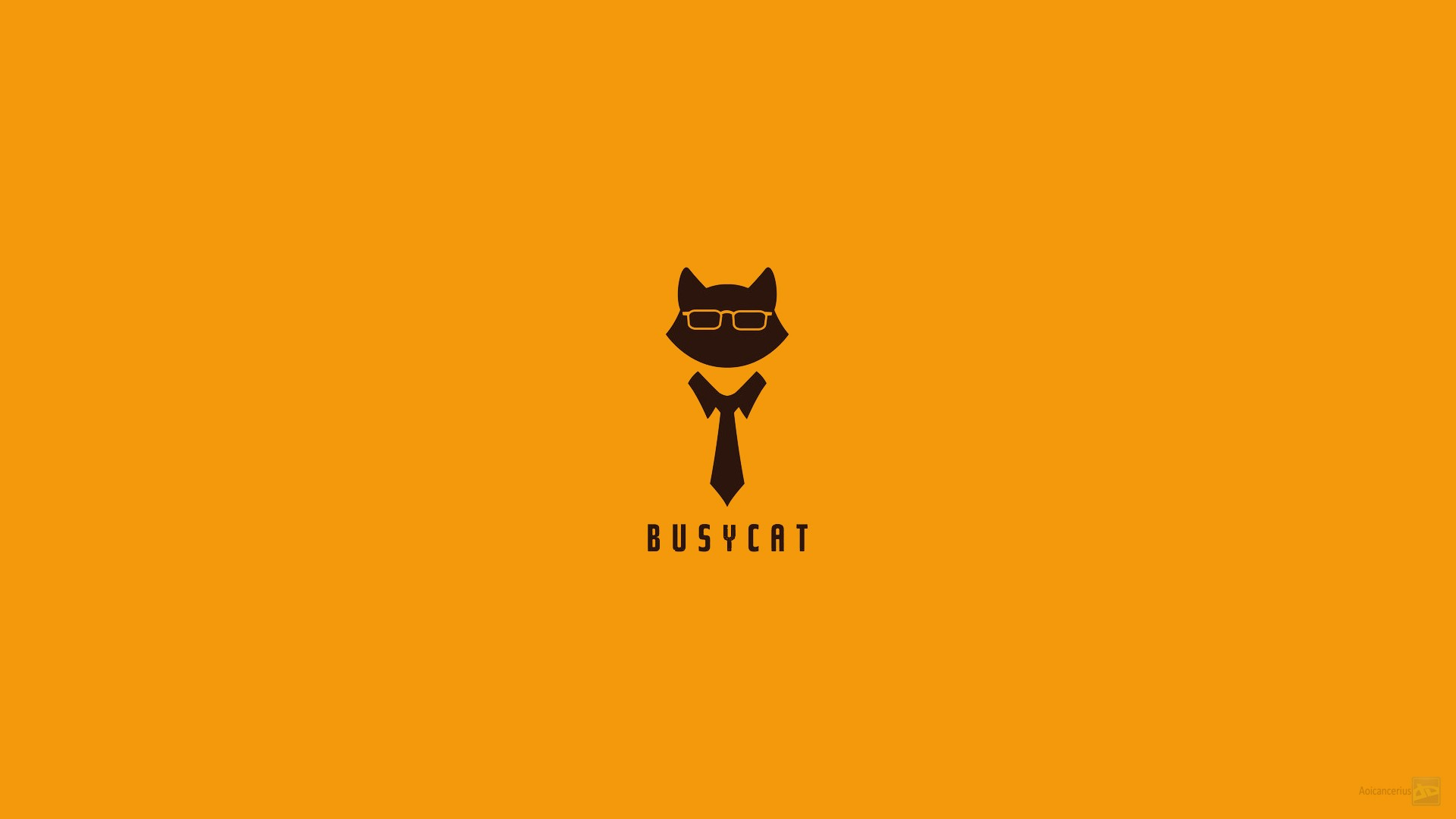 orange background poster tie cats minimalism artwork business cat simple background