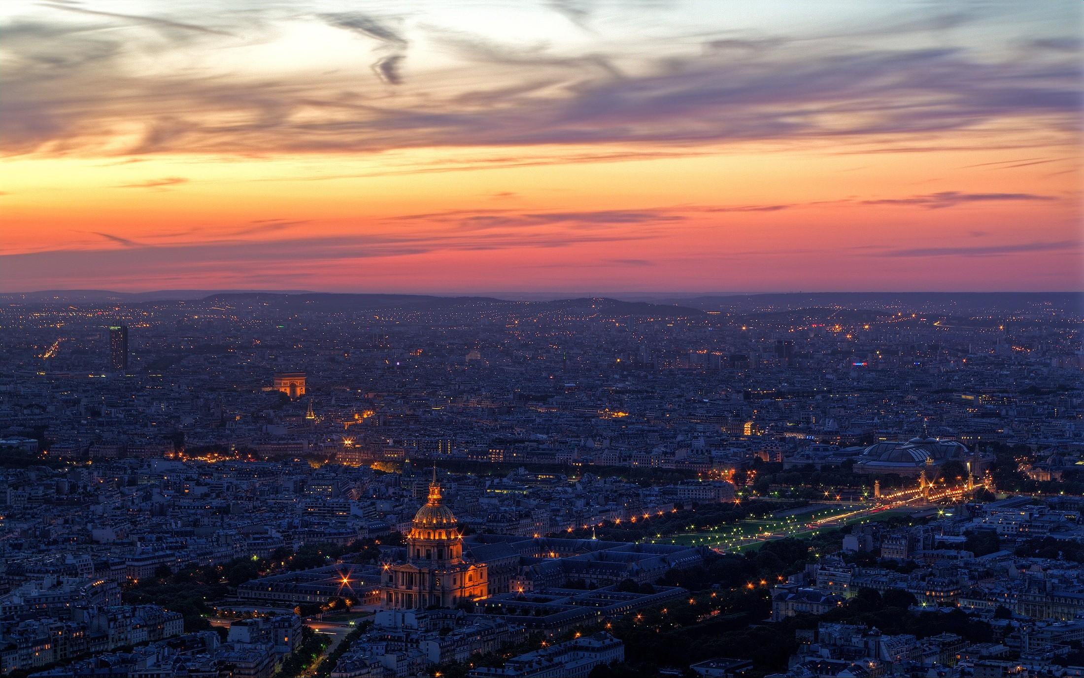 paris city lights cityscape sunrise urban city