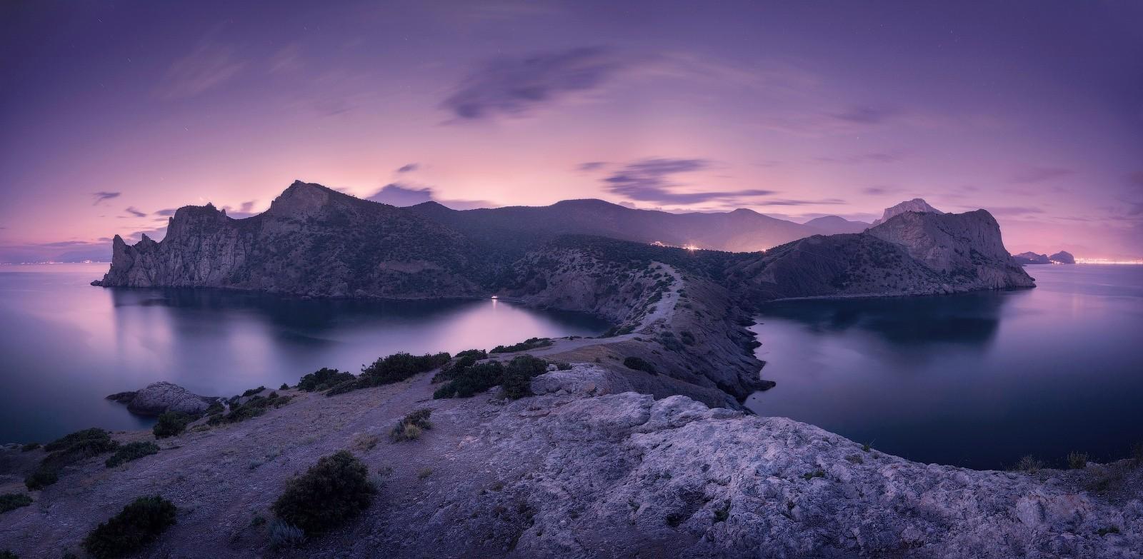 peninsula beach water crimea black sea landscape sunset shrubs mountains nature panoramas
