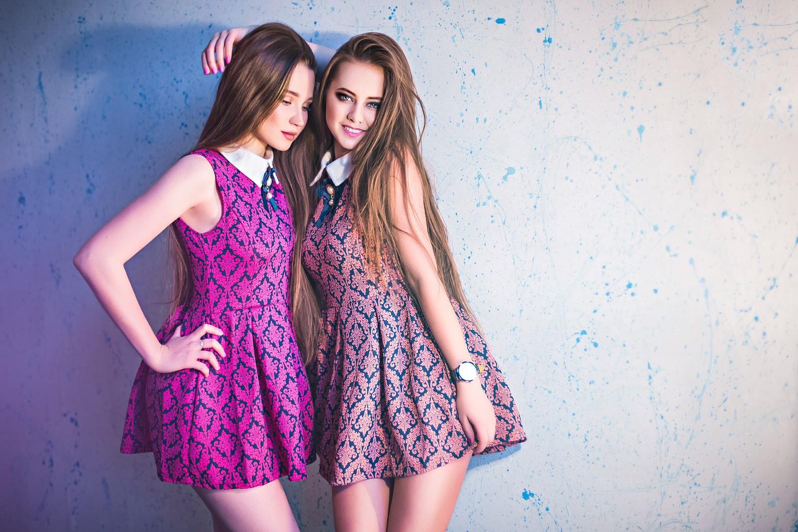 pink women long hair brunette teen  dress purple two women friends hair   model smiling wall