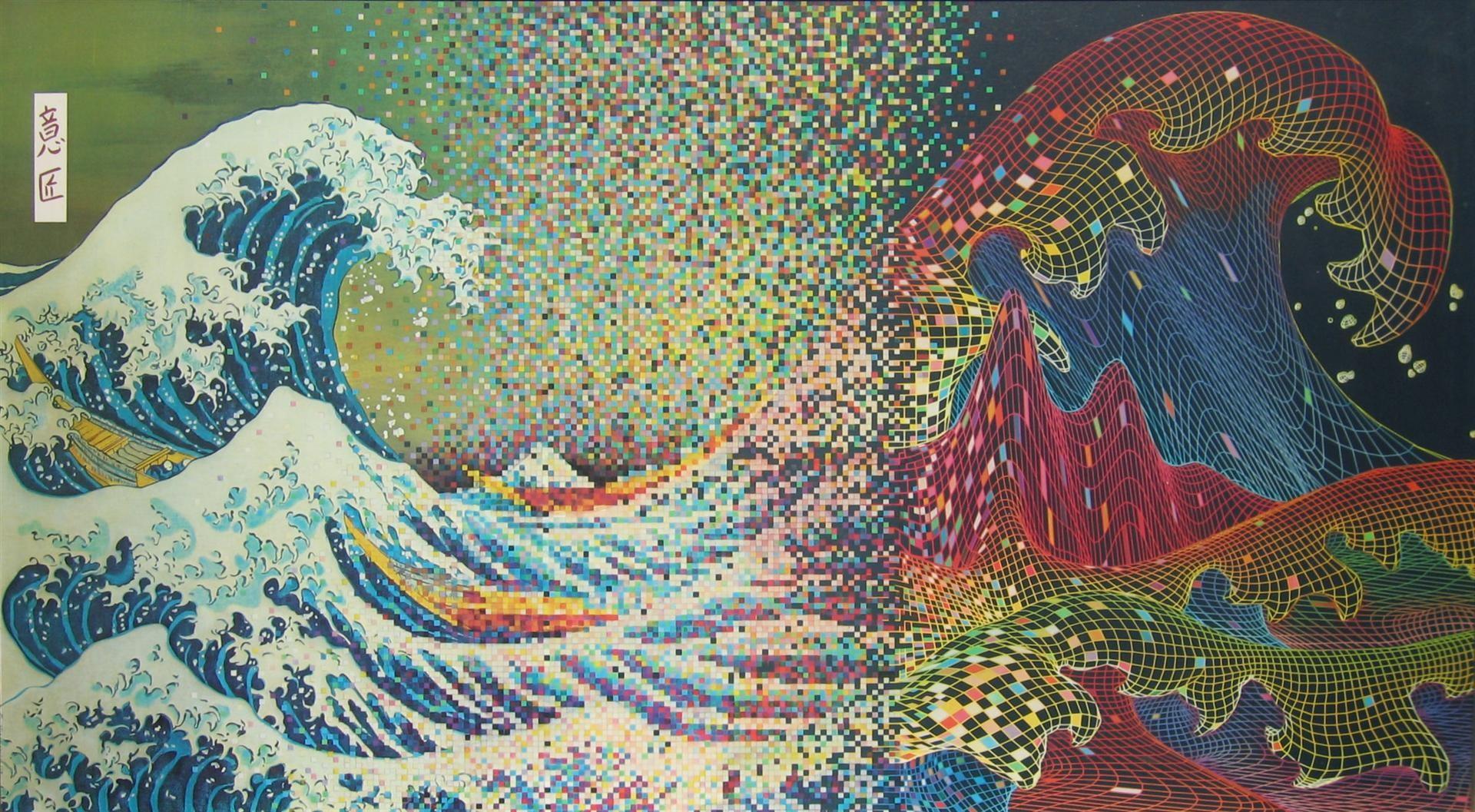 pixel art digital art traditional art waves