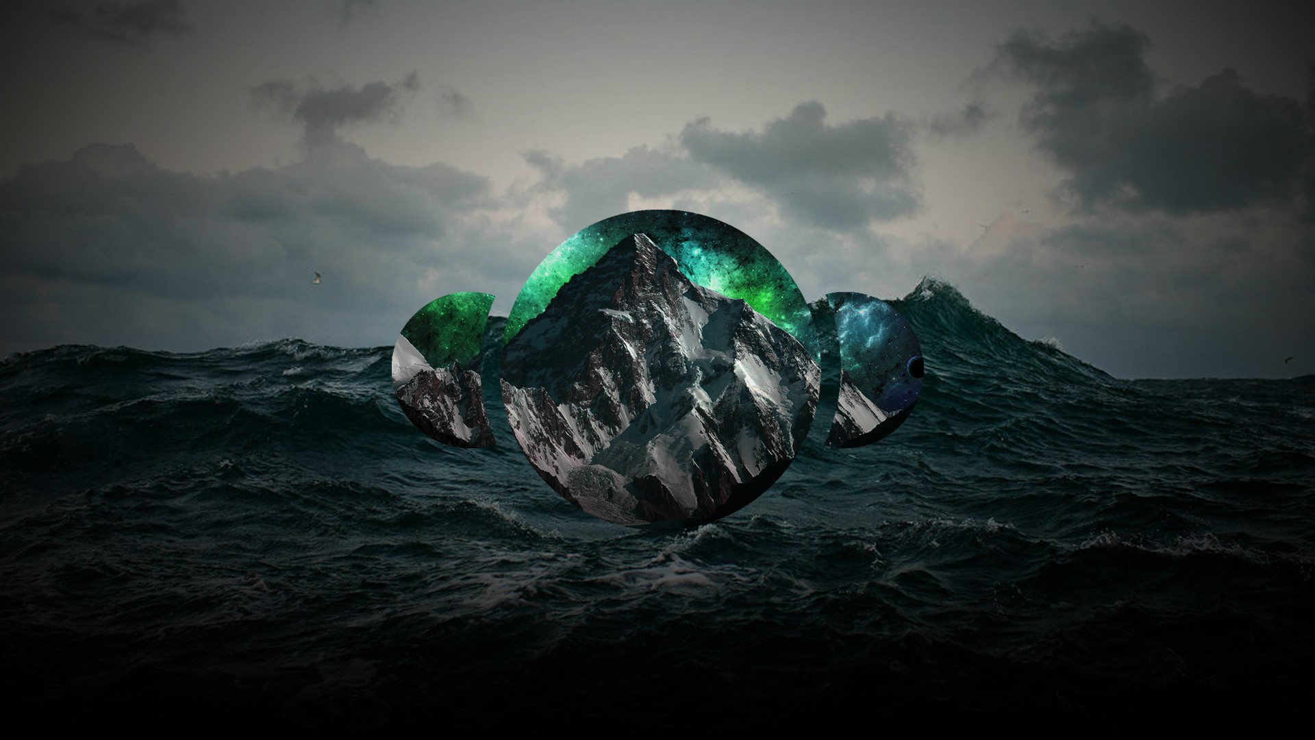 polyscape abstract sea mountains nature