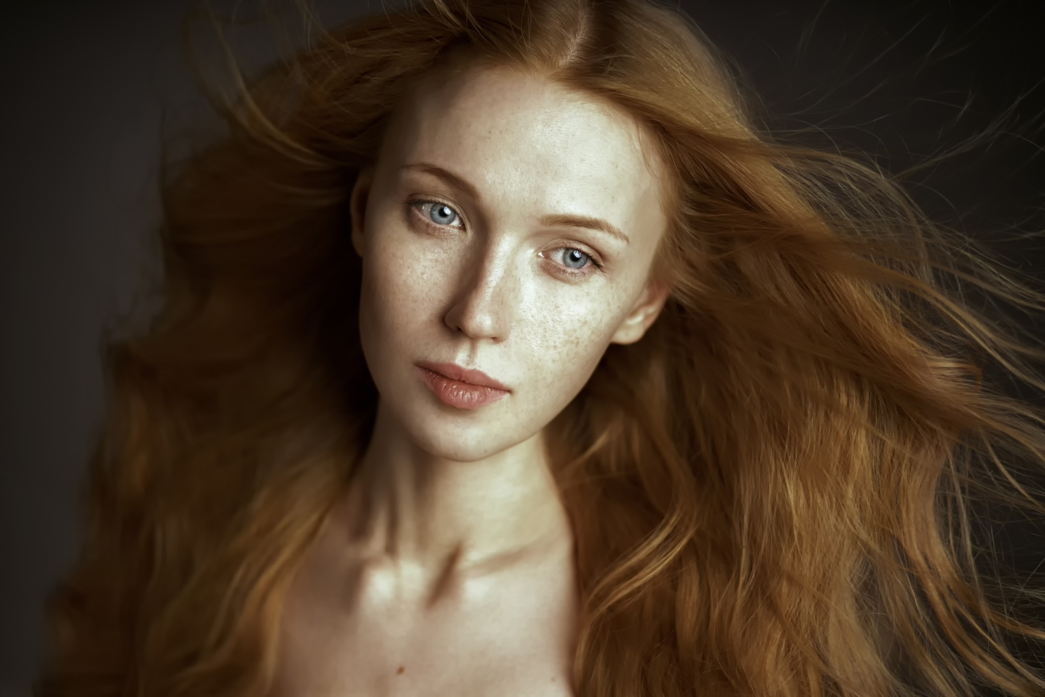 portrait face model redhead women