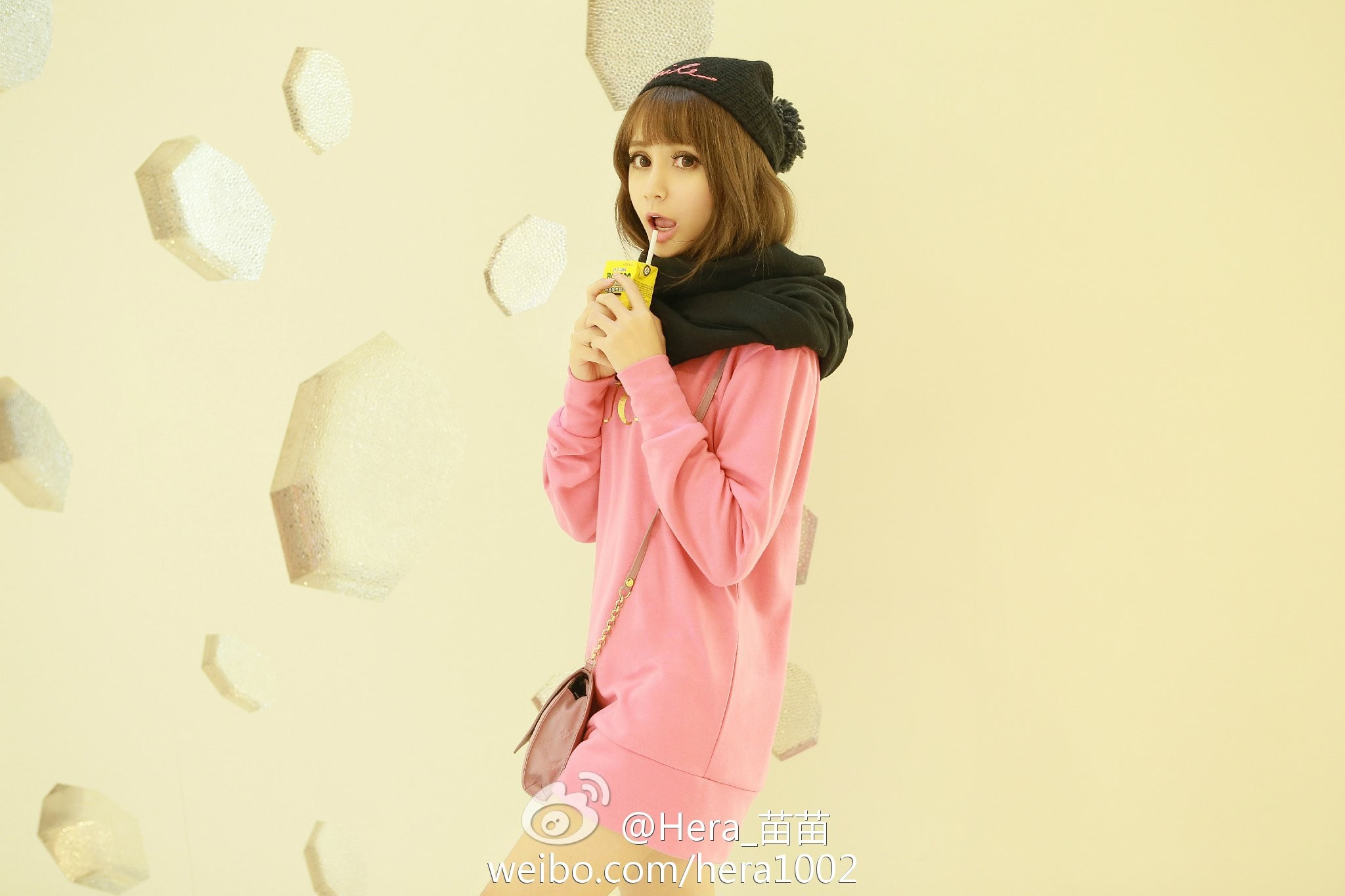 scarf brunette toque open mouth asian bangs women with hats women pink dress drinking straw