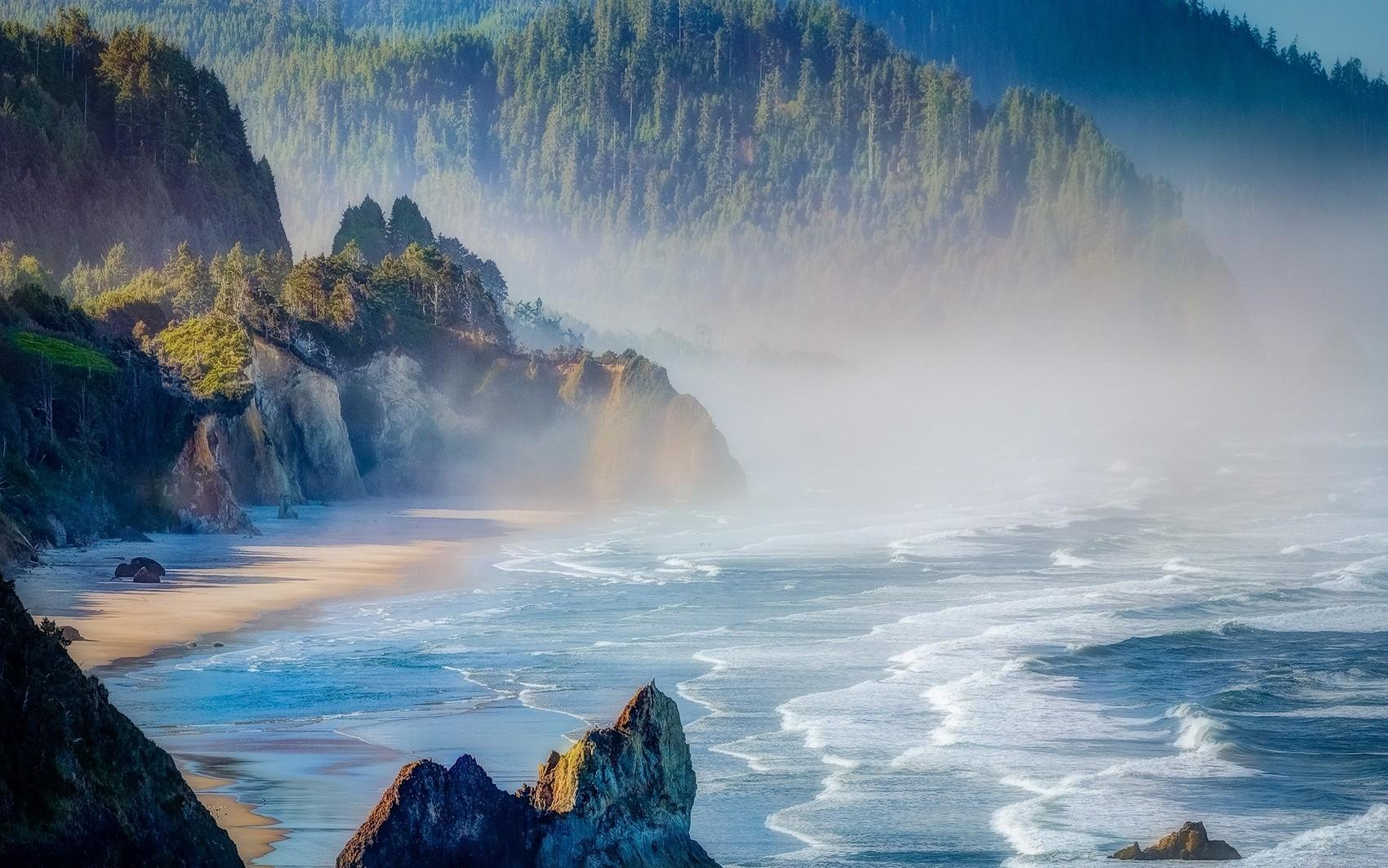 sea nature forest cliff mist oregon beach mountains landscape