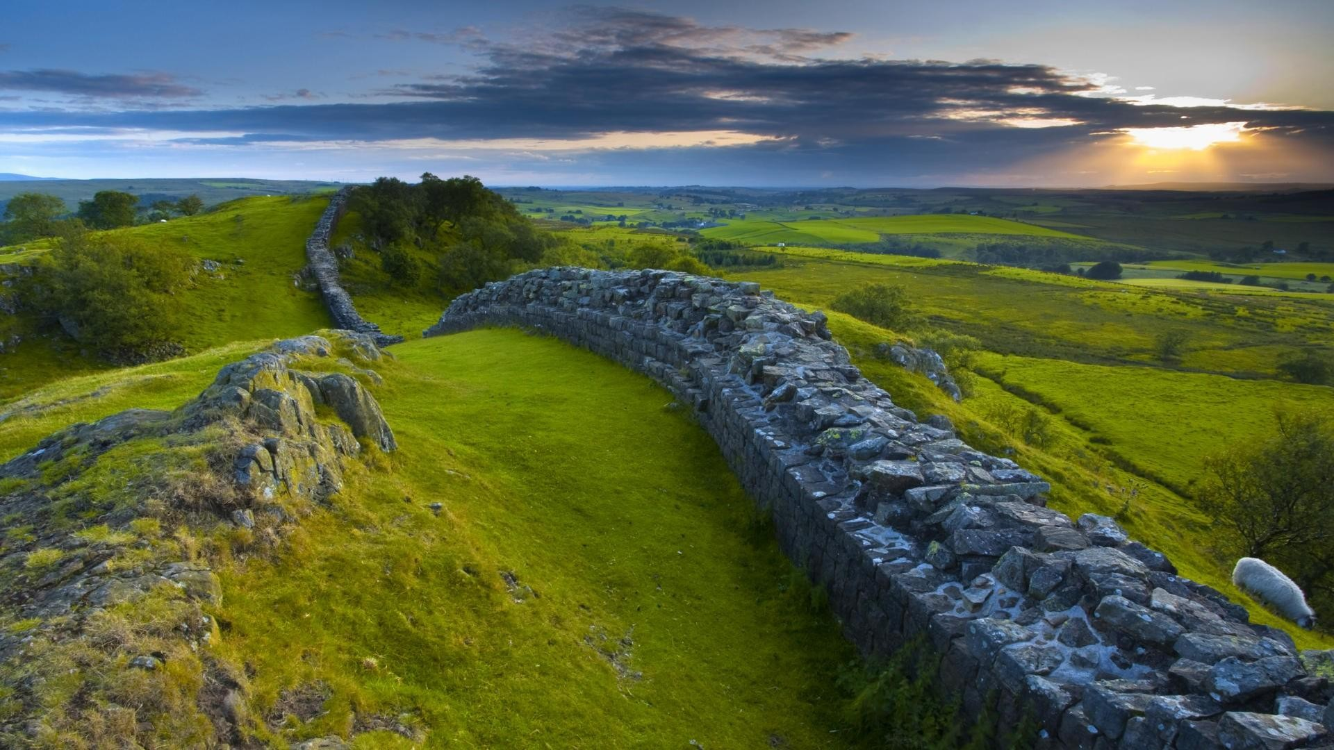 sheep landscape sky clouds roman hills sun nature field england sunlight grass animals stones history