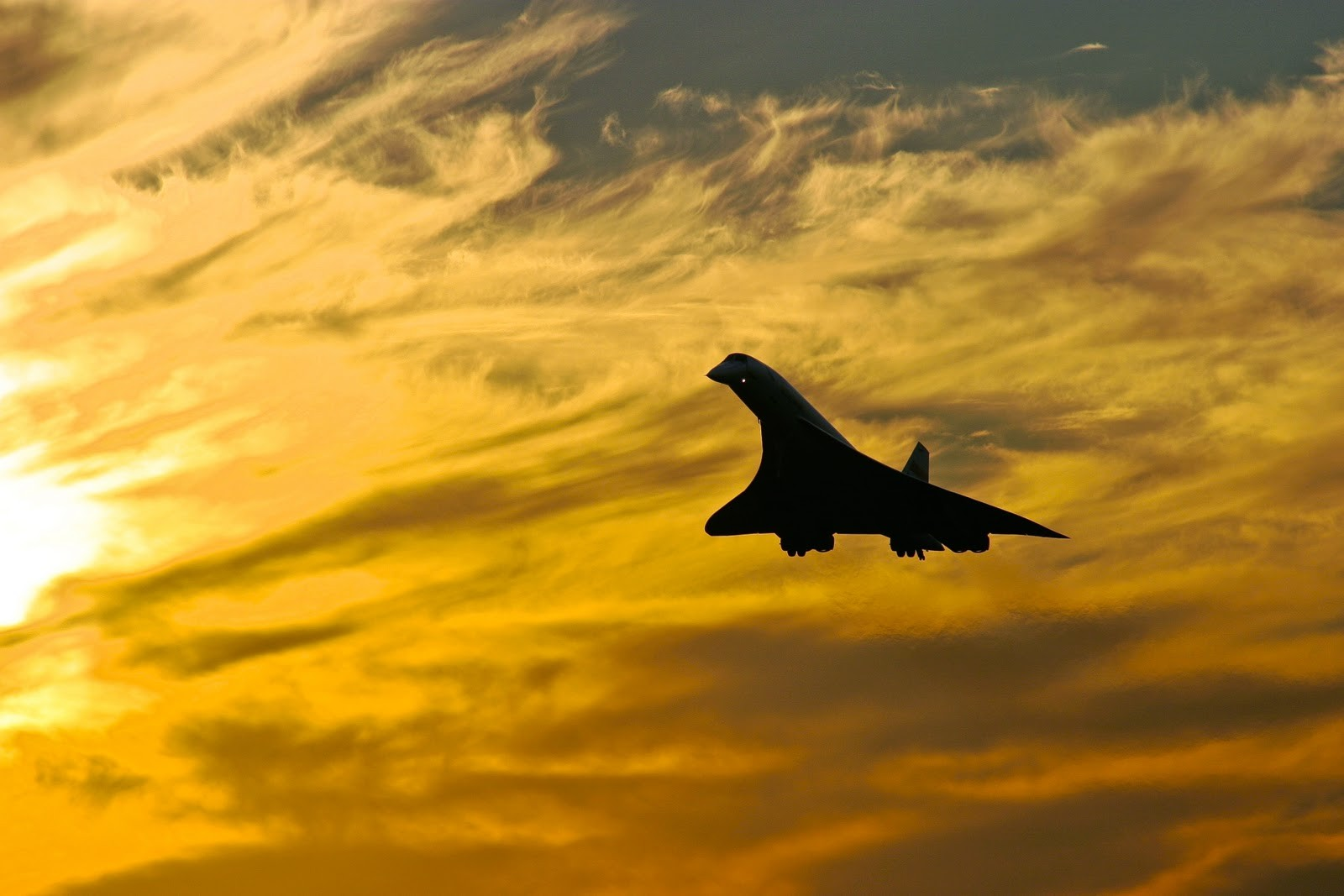 silhouette sunlight clouds concorde aircraft jets flying photography sky