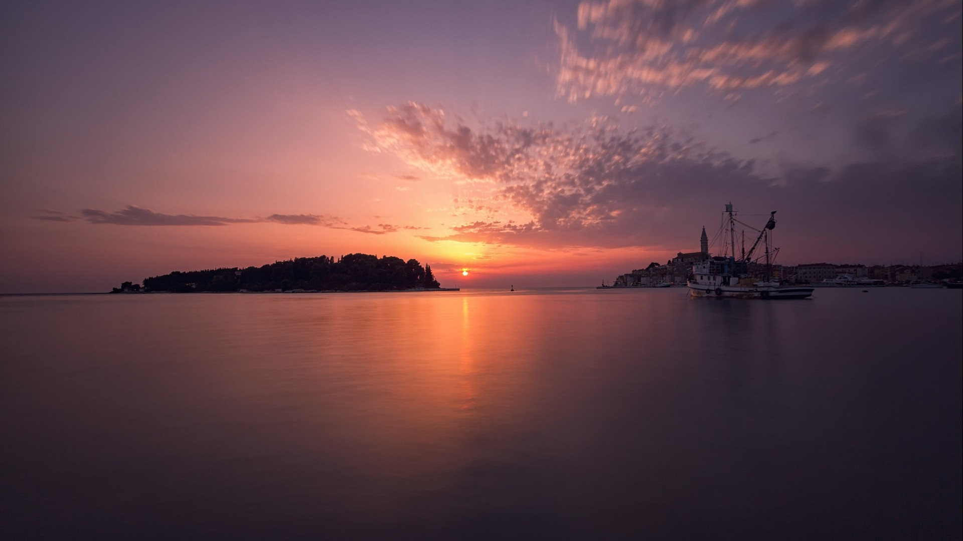 sunset trees water sea nature landscape coast yachts house ship long exposure island reflection forest clouds