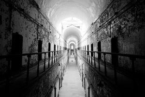 abandoned building prison monochrome