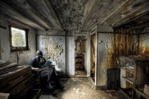 abandoned room reading men apocalyptic gas masks wall grunge cupboard interior sitting books
