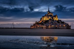 abbey town mont saint-michel night island fort city lights