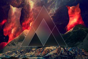 abstract stars mountains nebula landscape nebula stars