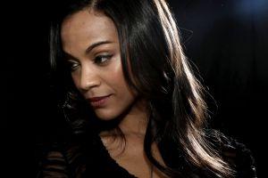 actress brunette face women zoe saldana ebony
