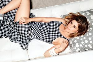 actress dress brunette women brown eyes looking at viewer red nails plaid skirt lying on back kate mara top view lifting skirt