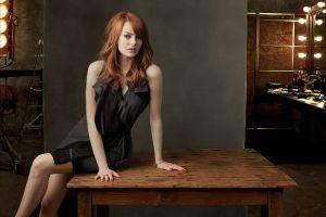 actress emma stone black dress women model